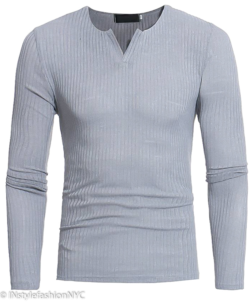 Men's Light Gray Fitted Long Sleeve V-Neck Shirt, INstyle fashion