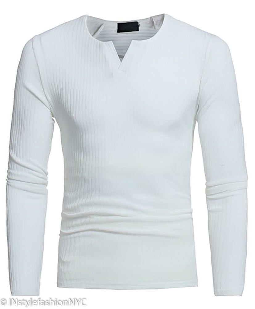 Men's White Fitted Long Sleeve V-Neck Shirt, INstyle fashion