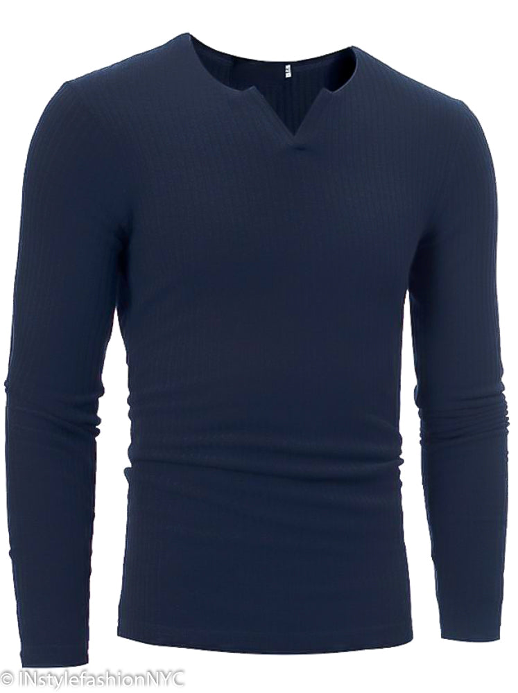 Men's Navy Blue Fitted Long Sleeve V-Neck Shirt, INstyle fashion