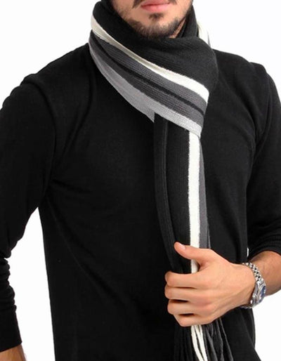 Men's Striped Winter Cotton Blend Scarf, INstyle fashion