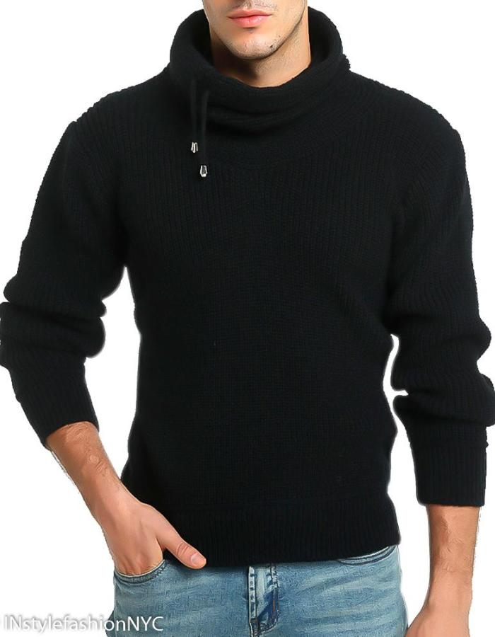 Men's Black Turtleneck Pullover Sweater, INstyle fashion