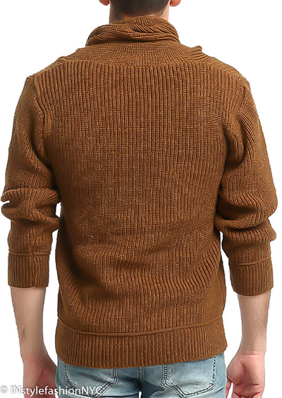 Men's Brown Turtleneck Pullover Sweater, INstyle fashion