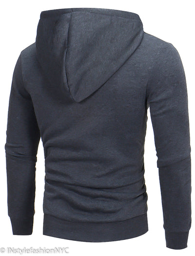 Men's Gray Drawstring Hoodie With Green Trim, INstyle fashion