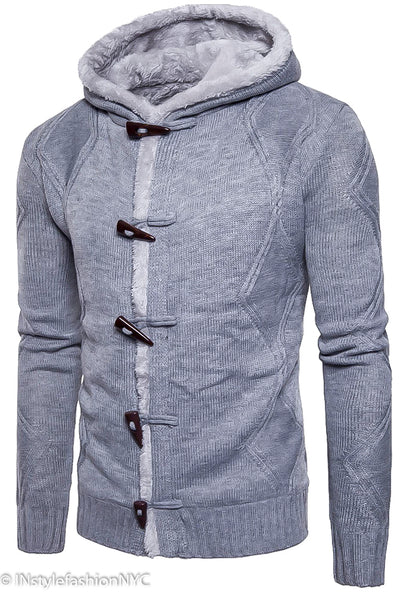Men's Gray Hooded Jacket With Toggles, INstyle fashion