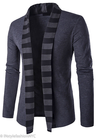 Men's Gray Striped Shawl Sweater Jacket, INstyle fashion