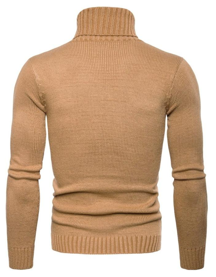 Men's Tan Cable Turtleneck Sweater, INstyle fashion