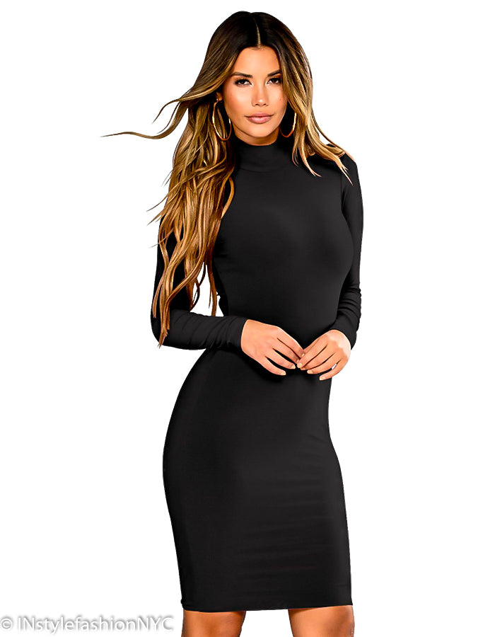 Women's Black Long Sleeve Bandage Dress, INstyle fashion