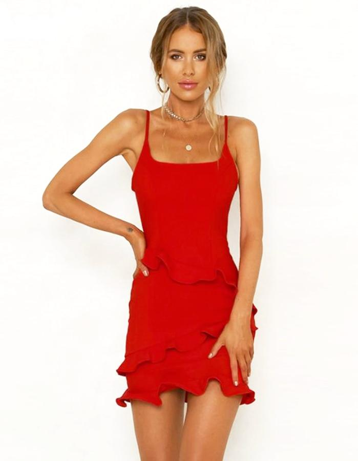 Women's Red Tiered Ruffle Bodycon Mini Dress, INstyle fashion