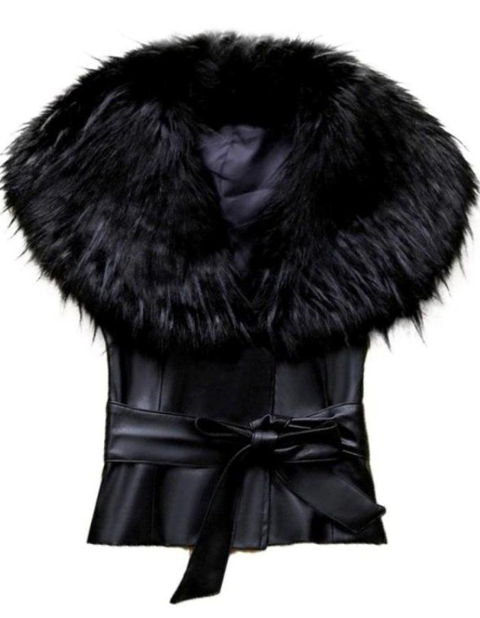Women's Black Faux Fur Collar Vest, INstyle fashion
