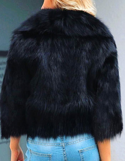 Women's Black Faux Fur Cropped Jacket, INstyle fashion