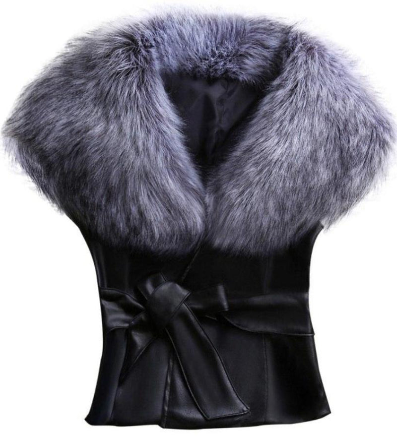 Women_Gray_Faux_Fur_Collar_Black_Vest