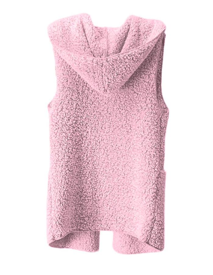 Women's Pink Teddy Bear Faux Fur Hooded Cardigan, INstyle fashion