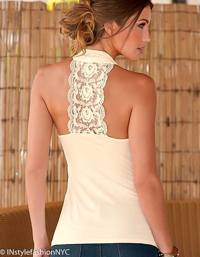 Women's Beige Back Lace Stitching Tank, INstyle fashion NYC