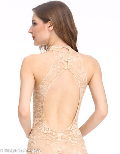 Women's Beige Sheer Lace Teddie, INstyle fashion