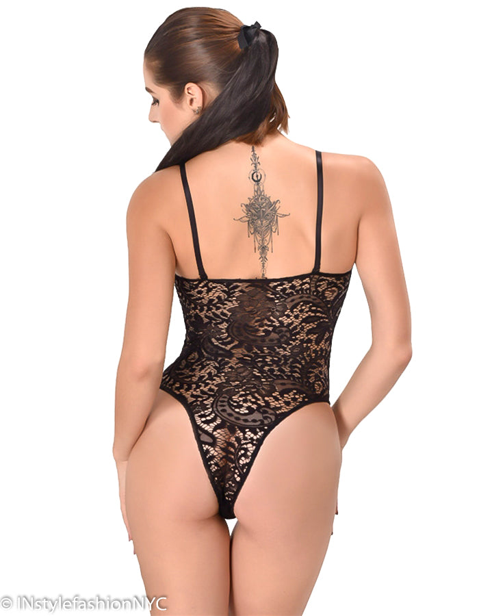 Women's Black Alluring Lace Teddie, INstyle fashion