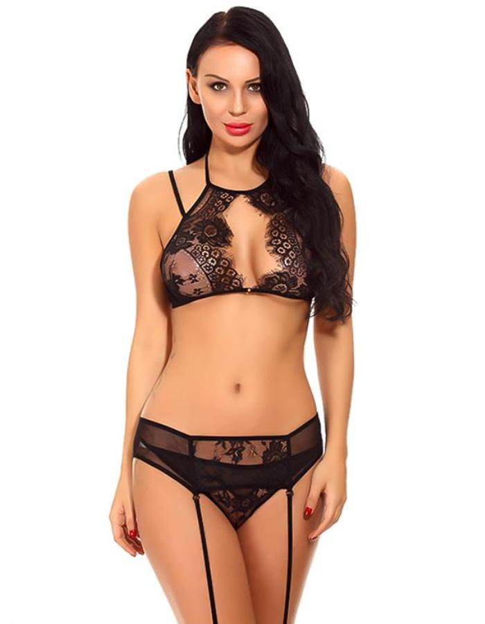Women's Black Bralette, Garter And Panty Set, INstyle fashion