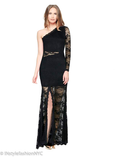 Women's Black Extended Lace Long Dress, INstyle fashion