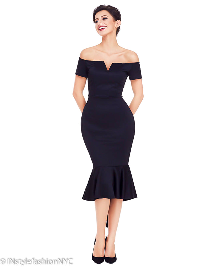 Women's Black High Low Mermaid Dress, INstyle fashion