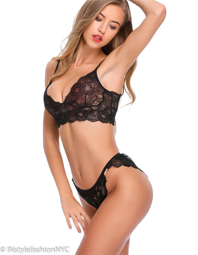 Women's Black Lace Bralette And Panty Set, INstyle fashion