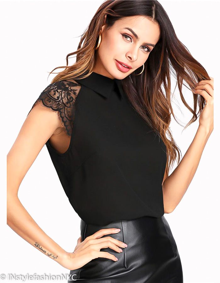 Women's Black Lace Cap Sleeve Blouse, INstyle fashion