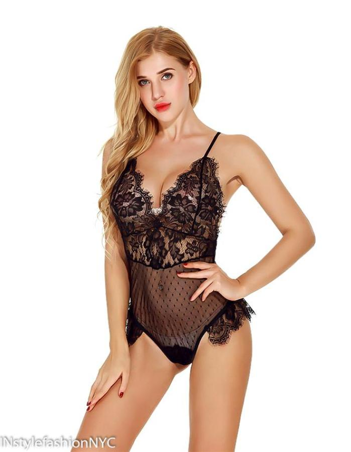 Women's Black Lace Cheeky Teddie, INstyle fashion