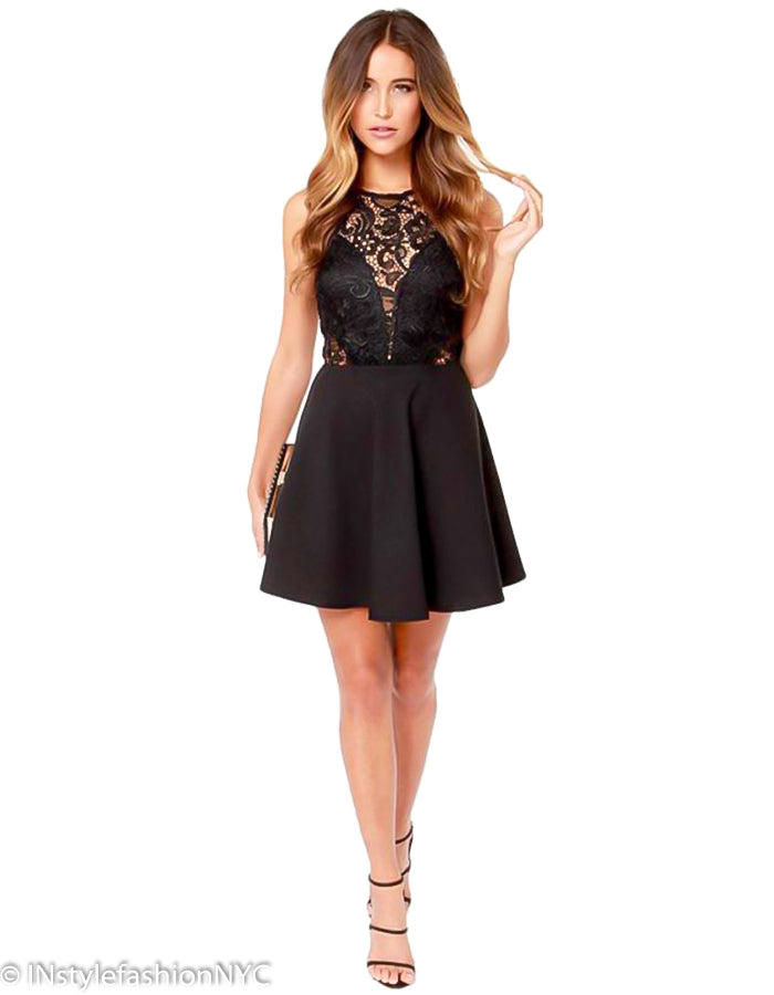 Women's Black Lace Cocktail Mini Dress, INstyle fashion