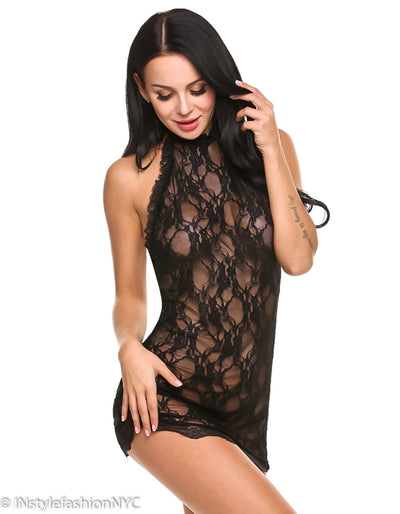 Women's Black Lace High Neck Chemise And Panty Set, INstyle fashion