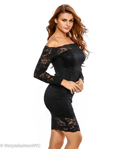 Women's Black Off Shoulder Lace Dress, INstyle fashion