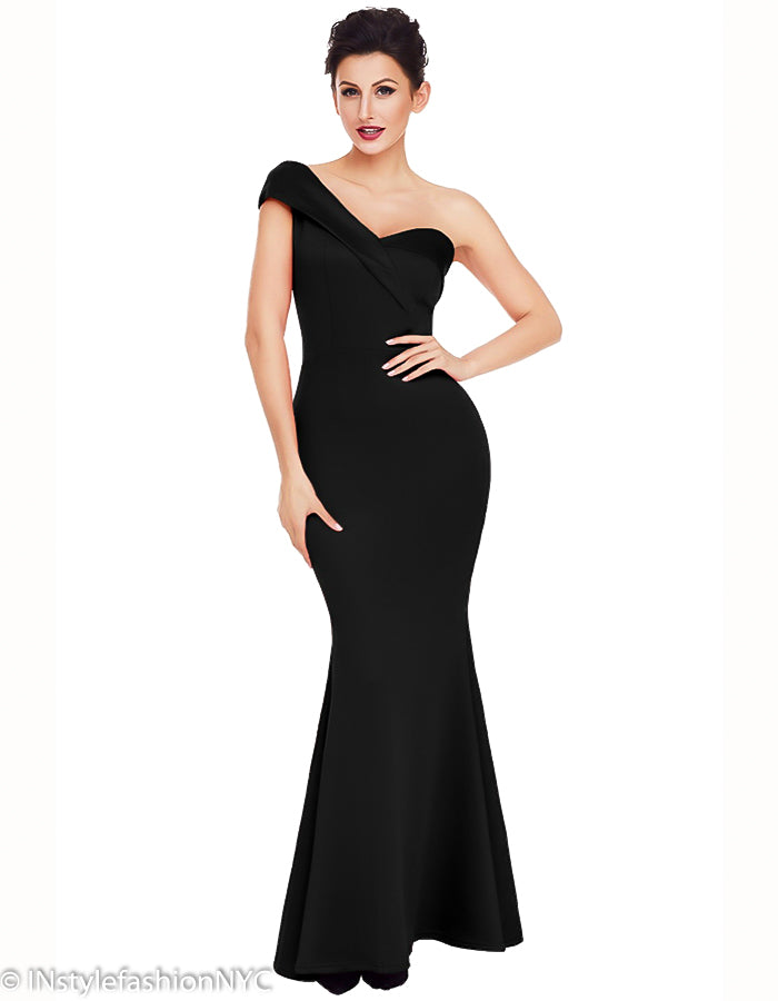 Women's Black One Shoulder Trumpet Dress, INstyle fashion