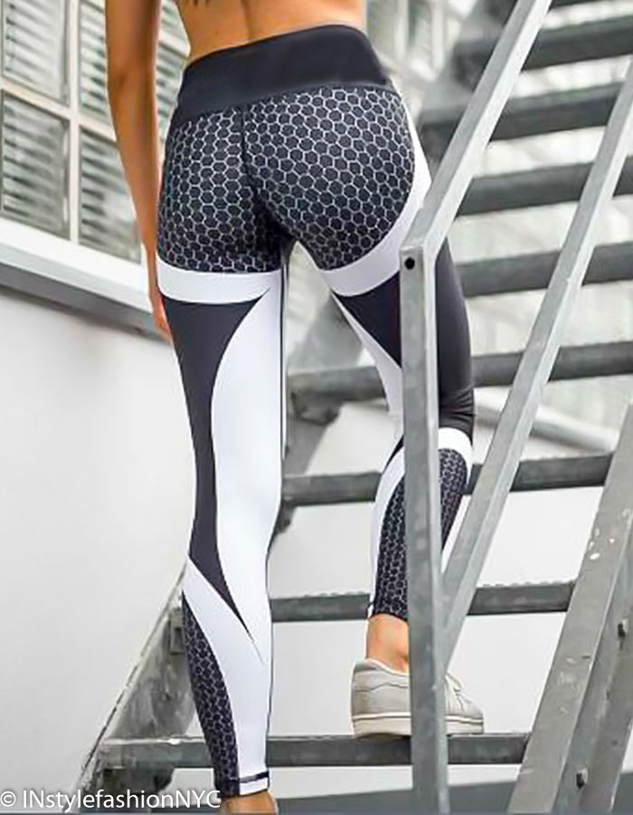 Women's Black Patchwork Fitness Leggings, INstyle fashion