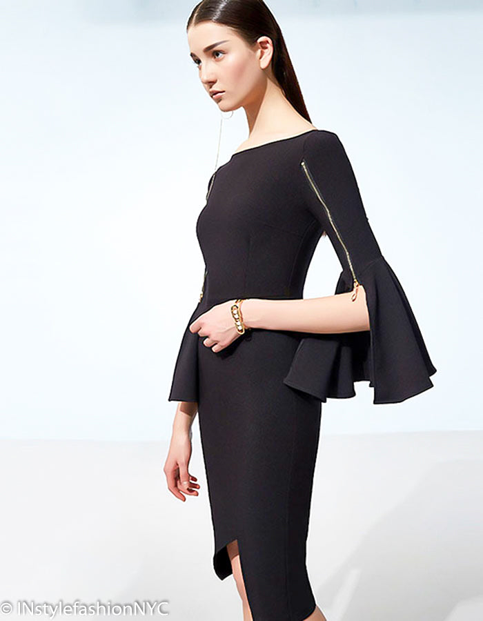 Women's Black Pencil Flare Sleeve Dress, INstyle fashion