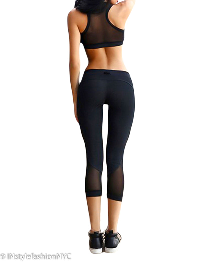 Women's Black Sport Bra And Leggings Set, INstyle fashion