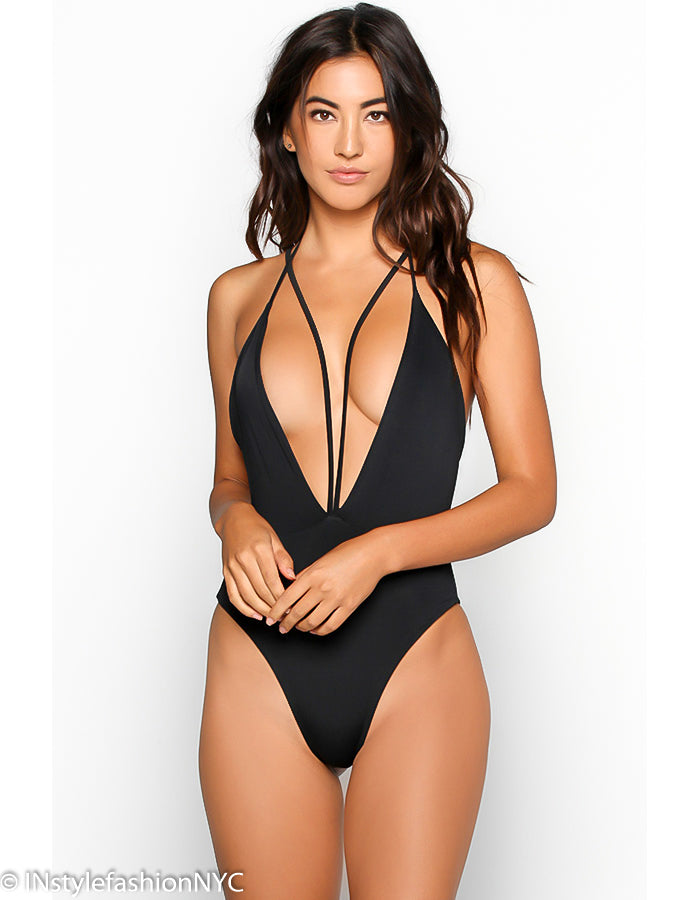 Women's Black Strappy One Piece Swimwear