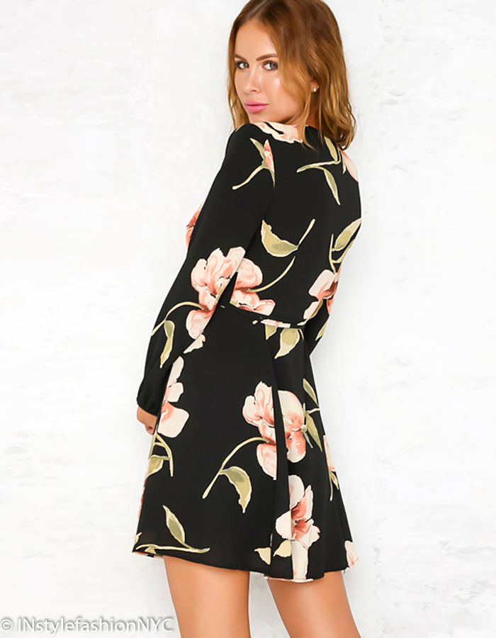 Women's Black Surplice Floral Mini Dress, INstyle fashion
