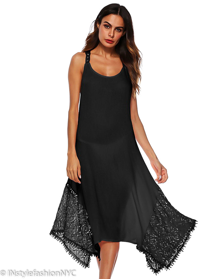 13a12ef97ba34 Women's Black Tie Back Cover Up, INstyle fashion