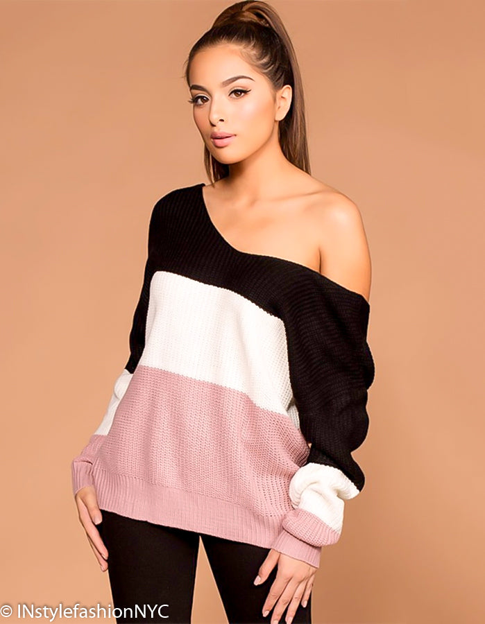 Women's Black, Cream And Pink Twisted V-Neck Sweater, INstyle fashion