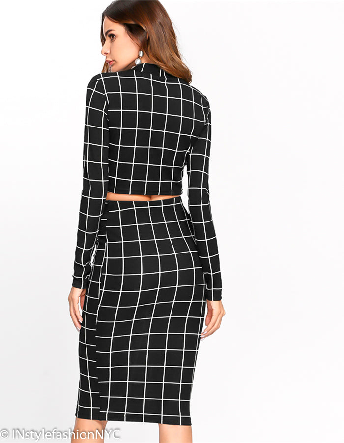 Women's Black Window Pane Top & Midi Skirt Set, INstyle fashion