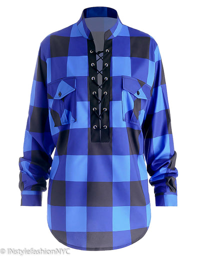 Women's Blue Black Plaid Plus Size Blouse, INstyle fashion