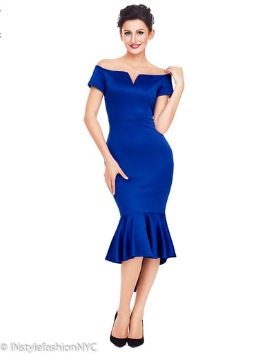 Women's Blue High Low Mermaid Dress, INstyle fashion