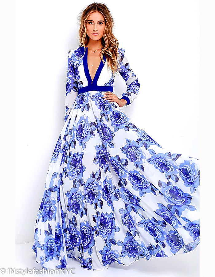 Women's Blue Long Floral Dress, INstyle fashion