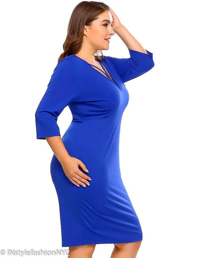Women's Blue Plus Size Pencil Dress, INstyle fashion