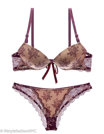 Women's Burgundy And Beige Satin Bra And Panty Set, INstyle fashion
