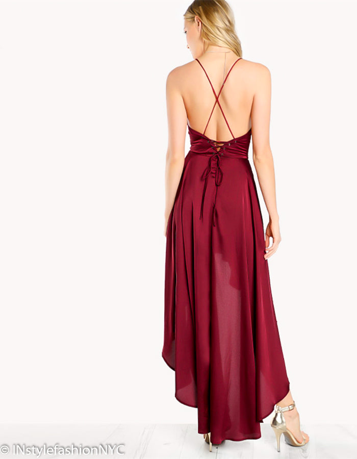 Women's Burgundy Hi Low Flowing Dress, INstyle fashion