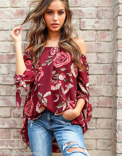 Women's Burgundy Loose Floral Blouse, INstyle fashion