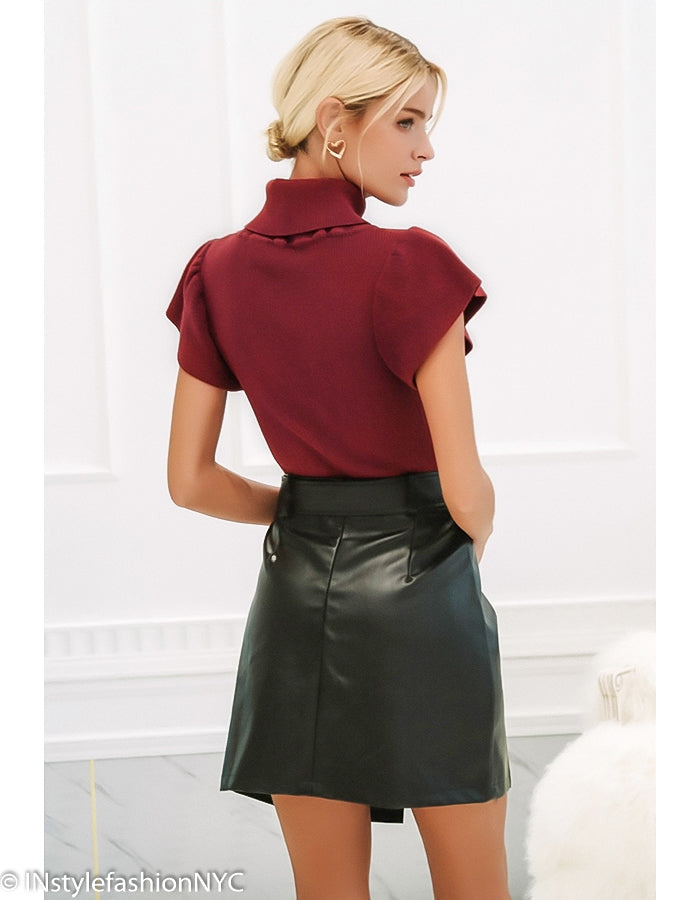 Women's Burgundy Ruffled Sleeve Sweater Top, INstyle fashion