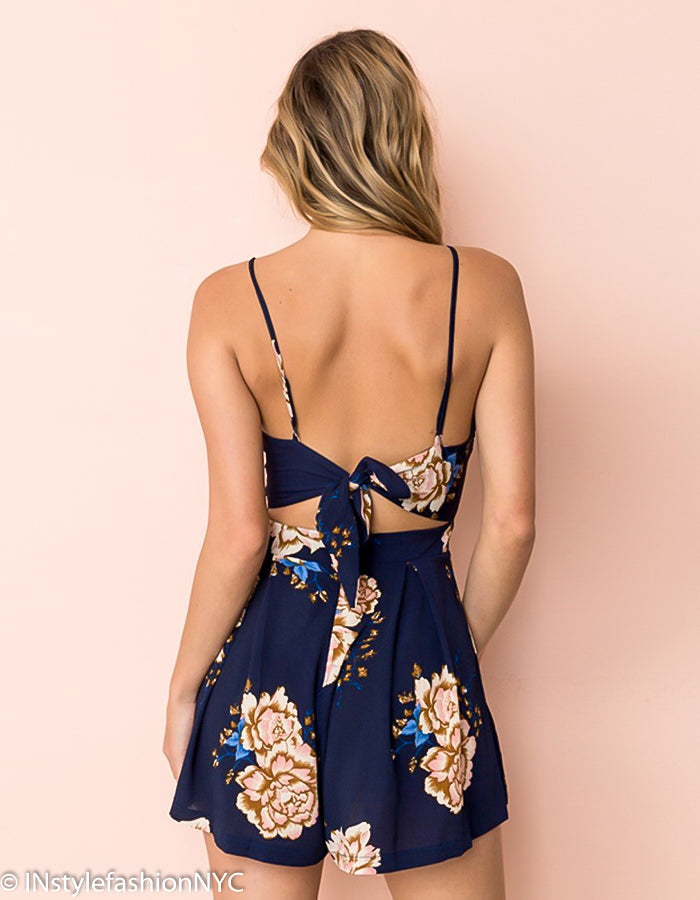 Women's Dark Blue And Beige Floral Romper, INstyle fashion