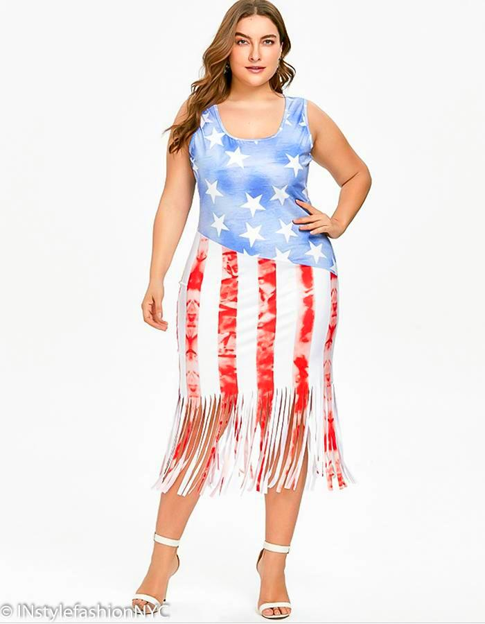 Women's Flag Stars And Stripes Plus Size Dress, INstyle fashion