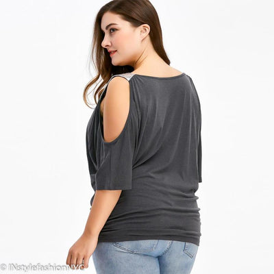 Women's Gray Sequin Cold Shoulder Plus Size Blouse, INstyle fashion NYC
