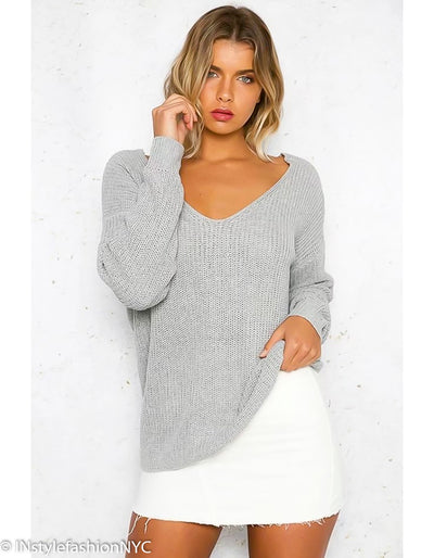 Women's Gray Twisted Backless Sweater, INstyle fashion