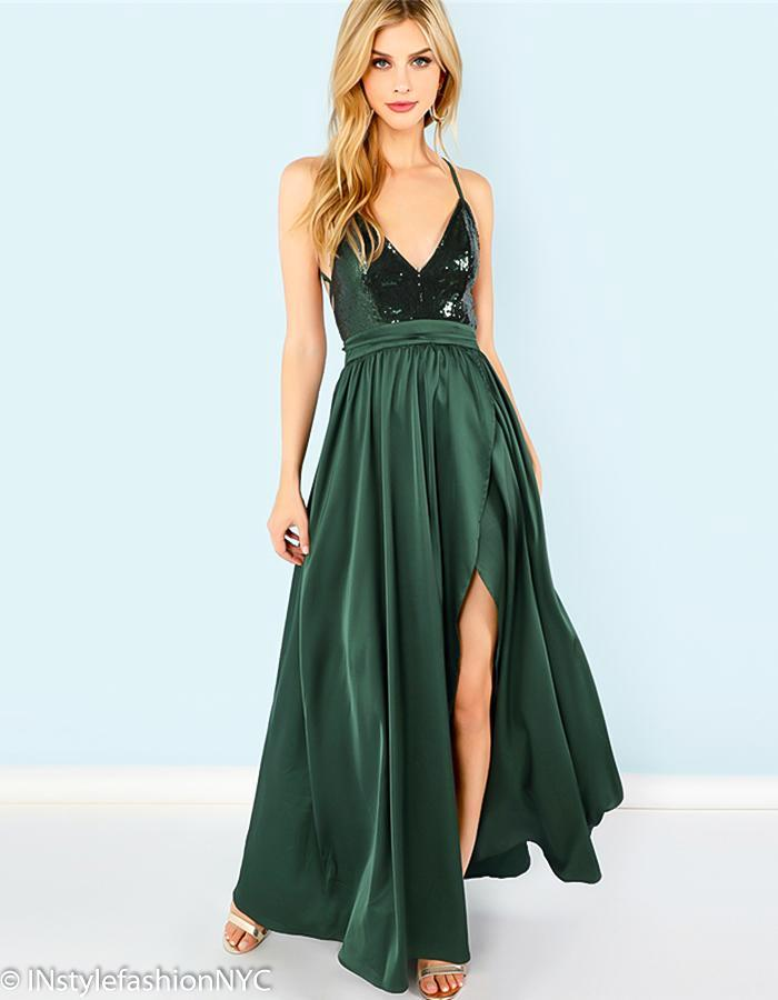 Women's Green Sequin High Slit Dress, INstyle fashion